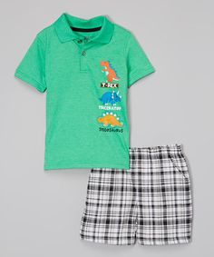Loving this Green Dinosaur Polo & Black Plaid Shorts - Infant, Toddler & Boys on #zulily! #zulilyfinds