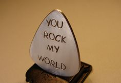 Guitar Pick Handmade Aluminum with Rock my World Stamped Text