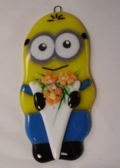 Herb  Fused Glass Minion Hanging Ornament by theartmachine1, £20.00