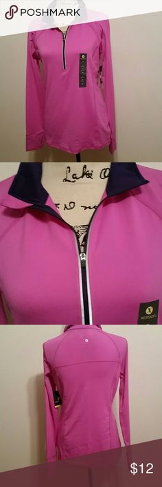 Half Zip Pullover Pretty pink and purple pullover, new with tags. Perfect staple for your closet. xersion Jackets & Coats