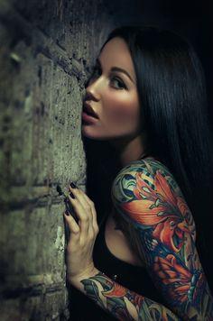 portrait photography, color, art, sleeve tattoos, tattoo patterns, flower tattoos, tattoo sleeves, floral tattoos, tattoo ink
