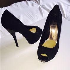 Baker's Stilettos Black velvet 5.5 inch heel Bakers Shoes