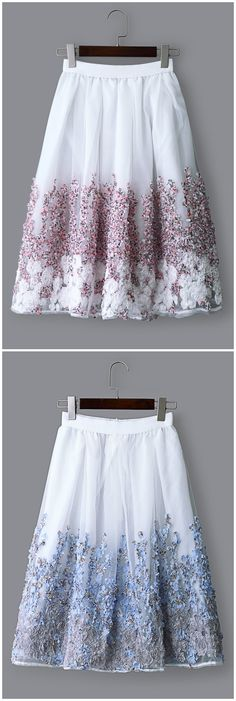 Sheer Random Embroidered Floral Midi Skirts