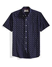 Amazon Brand - Goodthreads Men's Standard-Fit Short-Sleeve Printed Poplin Shirt Swim Shorts, Workout Shorts, Wardrobe Staples, New Trends, Poplin, Men's Fashion, Men Casual, Man Shop, Printed