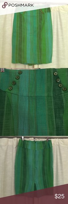 Anthropologie Eva Franco Skirt Gorgeous Eva Franco skirt from Anthro. Cute details on the front and an amazing mix of shades of green! Never worn!! NWOT condition Anthropologie Skirts Pencil