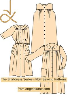 The 704 Raglan Sleeve Shirtdress completes this series. You will find these designs invaluable additions to your wardrobe. I can't think of an occasion where these garments would not be appropriate. They are easy to sew and will make up in an endless selection of fabrics. Pdf Sewing Patterns, Dressmaking, Shirt Dress, Sleeves, Fabrics, Easy, Design, Inspiration, Fashion