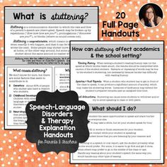 Free! What is stuttering handout, thanks to Natalie Snyders! More on her tpt store