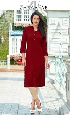 Buy plain cotton kurti in maroon colour at lowest prices in UK. Buy online plain cotton kurti in maroon color with best deals at ZaraaFab. #plainkurtis #cottonkurti #marooncolourtunic #maroonkurti #longkurti #kurtaladies #kurticollection #kurtaonline #kurtitunic #indiandress #asianwear
