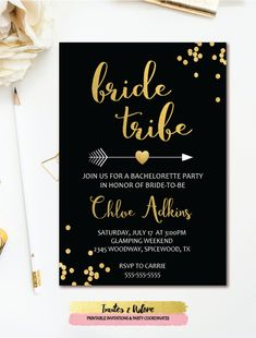 Bride Tribe Bachelorette Invitation - Black & Gold Confetti Arrow Bachelorette Party Invitation - Boho. Customize for a Bridal Shower too.