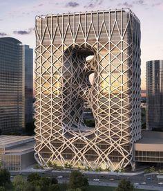 ビルに蜘蛛の巣が張ったよう。zaha hadid in macau: city of dreams hotel tower under construction