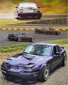 UltraViolet Roadster in sight! Mazda Cars, Mazda Miata, Jdm Cars, Mazda Roadster, Fox Body Mustang, Jdm Wallpaper, Yamaha Bikes, Car Goals, Import Cars