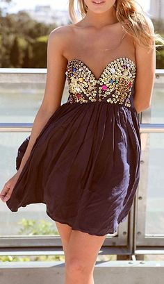 Navy Strapless Dress with Sequin&Jewel Embellished Top from UsTrendy. Saved to Dresses. Estilo Fashion, Look Fashion, Fashion Beauty, Womens Fashion, Fashion Blogs, Ladies Fashion, Fashion Fashion, Fashion Ideas, Fashion Dresses