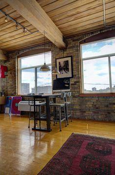 Noble Court Lofts - Unit #413   Toronto LOFTS Toronto Lofts, Industrial Office Space, Centre Island, Hardwood Floors, Flooring, Exposed Brick Walls, Open Concept Kitchen, Wood Ceilings, Beams