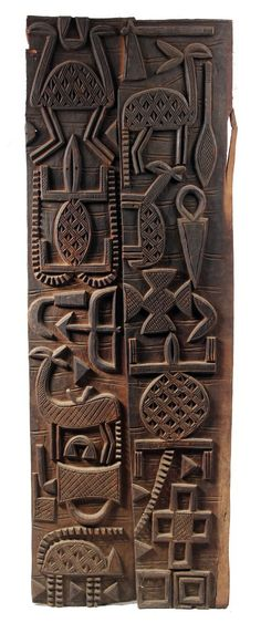 Africa | Door panels from the Senufo people from southern Mali | Wood | 20th century