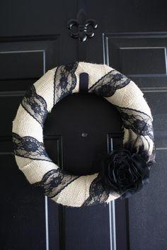 La Petite Vie: Burlap & Black Lace Wreath