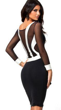 Black White Contrast Mesh Yoke Bodycon Dress - Fashion Clothing, Latest Street Fashion At Abaday.com