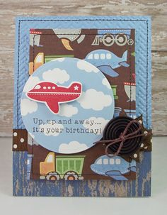 "I created this card using ""Little Hot Rod"" by PTI. The patterned paper is by the The Paper Studio by Hobby Lobby."