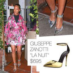 "Giuseppe Zanotti custom metallic silver pointed toe strappy ""La Nuit"" pumps $695 (pictured in gold), @badgalriri"