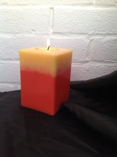 Square lemon and orange 'keep me' candle with 2 scented soy tea lights £7.00