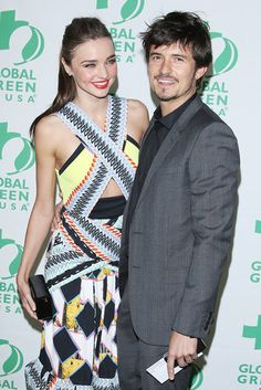 Love Birds: Miranda Kerr and Orlando Bloom showed love on the red carpet in LA Wednesday night.