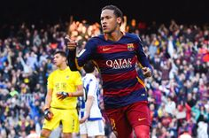 Neymar of FC Barcelona celebrates after scoring the opening goal during the La Liga match between FC Barcelona and Real Sociedad de Futbol at Camp Nou on November 28, 2015 in Barcelona, Catalonia.