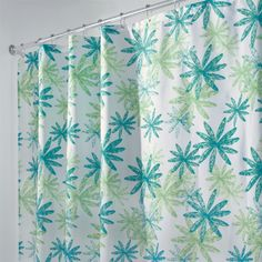 """84"""" Long Ada Blue And Green Floral Fabric Shower Curtain"""