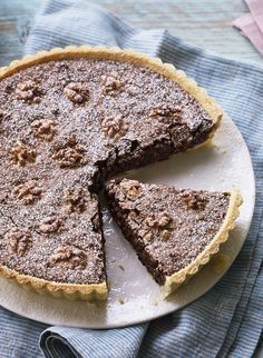 Chocolate and walnut tart is rich and nutty - just right with a little cream!