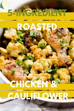 This Chipotle Roasted Chicken and Cauliflower is an easy to make one dish meal!  With just 5 ingredients, this low-carb and gluten-free meal is perfect for busy weeknights. Gluten Free Recipes For Breakfast, Healthy Gluten Free Recipes, Gluten Free Dinner, Healthy Dinner Recipes, Keto Recipes, Paleo, Low Carb Chicken Recipes, Keto Chicken, Free Meal