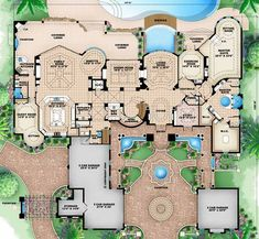 Florida Style House Plans - 10178 Square Foot Home, 2 Story, 6 Bedroom and 1 3 Bath, 6 Garage Stalls by Monster House Plans - Plan 55-116