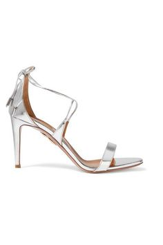 Aquazzura - Linda Mirrored-leather Sandals - Silver - IT