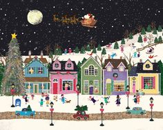 Christmas - Santa flies over the village