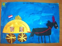 Gouden koets of als pompoen-koets van assepoester Pirate Activities, Kings Day, Wonderful Picture, Conte, Art Plastique, Elementary Art, Paper Plates, Art Lessons, Holland