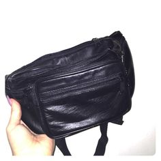 Fanny Pack Black leather fanny pack. Adjustable around the waist strap and multiple pockets  Bags