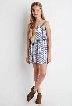 Cross Print Flounce Dress (Kids) | Forever 21 girls - 2000154377