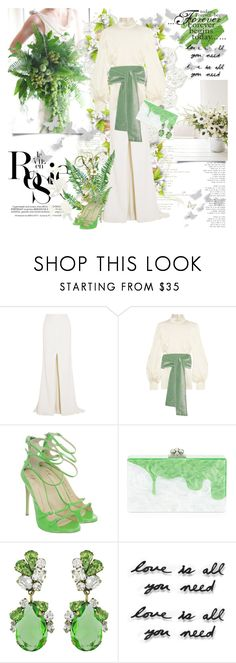 """""""Forever begins today..."""" by purplecherryblossom ❤ liked on Polyvore featuring Whiteley, Rime Arodaky, Hillier Bartley, Giuseppe Zanotti, Edie Parker, Badgley Mischka and Umbra"""