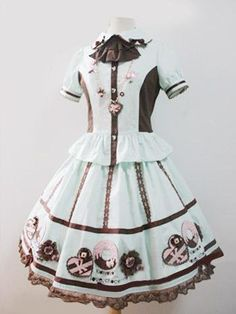 Chocolate Short Sleeves 100% Cotton Womens Lolita Dress