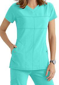 Grey's Anatomy Signature 2 Pocket Soft V-neck Scrub Tops Scrubs Outfit, Greys Anatomy Scrubs, Medical Scrubs, Fun At Work, Scrub Tops, Work Fashion, V Neck Tops, Grey's Anatomy, Caregiver