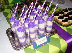 Purple cake shots at a Mardi Gras Party #mardigras #cakeshots