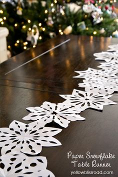 How to Cut Paper Snowflakes and my Snowflake Table Runner - Yellow Bliss Road