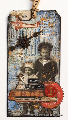 Layers of ink - 12 tags of 2015 August by Anna-Karin. My version of Tim Holtz 12 tags of 2015 August, with dies by Sizzix.