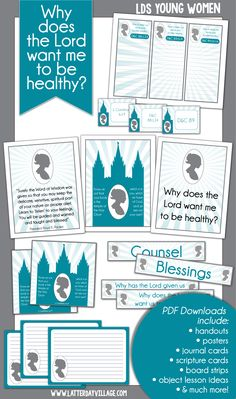 """November LDS Young Women Lesson helps """"Why does the Lord want me to be healthy?"""" Handouts, activity ideas, worksheets, printables and more! www.LatterDayVillage.com"""