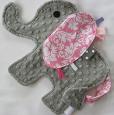 Minky elephant with ribbon...would rather have a bunny, but must make one of these.