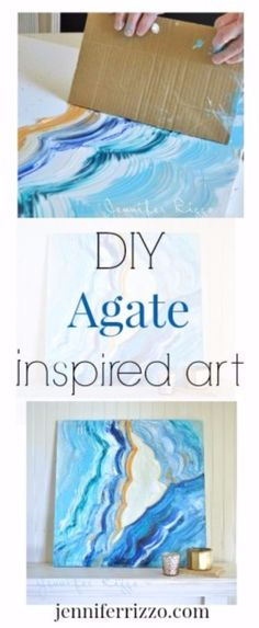 DIY Canvas Painting Ideas - Agate Inspired Acrylic Painting - Cool and Easy Wall Art Ideas You Can Make On A Budget Canvas Painting Projects, Easy Canvas Painting, Diy Canvas, Easy Paintings, Abstract Canvas, Canvas Art, Canvas Paintings, Painting Art, Watercolor Painting