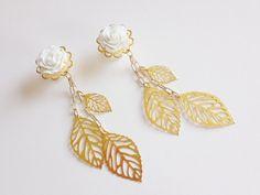 "1/2 inch Dangle Gauges Ear Plugs Choose Rose Color 14mm 9/16"" Gauged Earrings 7/16 000g Dangle Plugs Gold Leaf Dangly Plugs White Wedding"