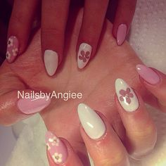 Full set acrylic nails with pink and white gel colors and nail design #Nailsbyangiee