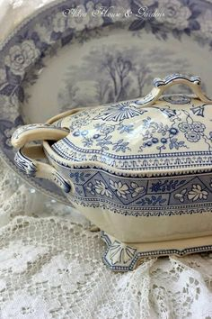 """Beautiful transferware...reminds me of Gramma's """"good"""" dishes she brought out for special occasions."""