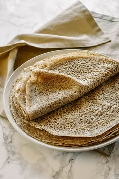 """Buckwheat crepes are commonly known in French as """"crêpes de blé noir"""" or """"crêpes de sarrasin"""" (blé noir and sarrasin both translating to buckwheat). Buckwheat Gluten Free, Buckwheat Pancakes, Recipes With Buckwheat Flour, Cooking Buckwheat, Flour Recipes, Cooking Recipes, Pancake Recipes, Waffle Recipes, Breakfast Recipes"""