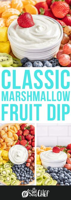 Classic Marshmallow Fruit Dip uses only 3 ingredients to bring you a refreshing dip. We've included 5 additional flavor options that will please any family or crowd! Appetizer Dips, Appetizer Recipes, Shower Appetizers, Appetizer Dessert, Dip Recipes, Fruit Recipes, Cooking Recipes, Fresh Fruit Desserts, Delicious Desserts