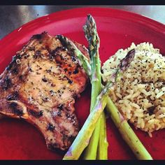 Grilled Marinated Pork Chops, Rice Pilaf and Fresh Asparagus