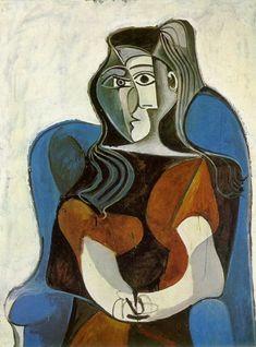 Pablo Picasso.Woman sitting in an armchair (Jacqueline) II  Femme assise dans un fauteuil (Jacqueline) II  1962